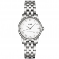 MIDO Baroncelli - Automatic White Roman Numeral Steel Lady's