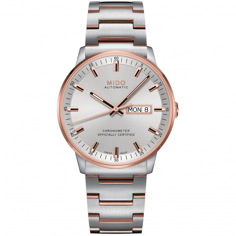 MIDO COMMANDER - Automatic COSC- Silver Steel & Rose Gold DayDate Gent's