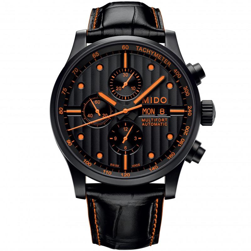 MIDO Multifort - Chronoraph Svart & Orange Läderband Herr