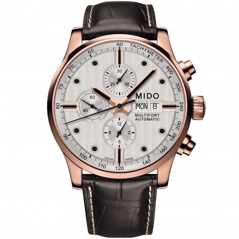 MIDO Multifort -Chronograph Vit Guld PVD Läderband Herr