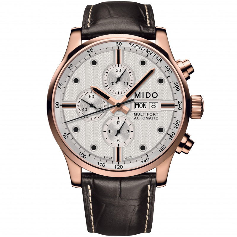 MIDO Multifort - Chronograph White Guld PVD Leatherstrap Gent's