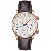 MIDO Multifort -GMT Vit Rose Guld PVD Läderband Herr