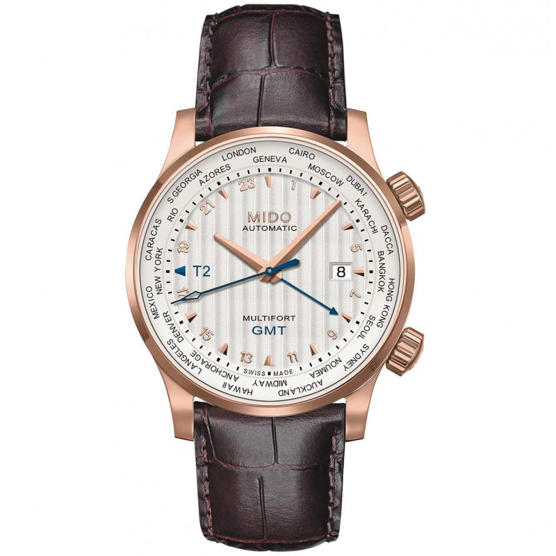 MIDO Multifort - GMT Vit Rose Guld PVD Läderband Herr