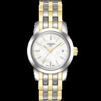 Tissot - Classic Dream Damklocka Quartz, vit urtavla, stållänk med gult guld PVDT0332102211100