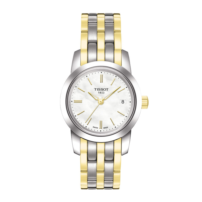 Tissot - Classic Dream Lady Quartz, white mother-of-pearl dial, stainless steel bracelet with yellow gold PVD plated T0332102211