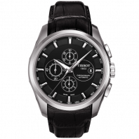 Tissot - Couturier Automatic with black leather strap and black dial T0356271605100