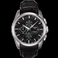 Tissot - Couturier Automatic med svart läderarmband och svart urtavla T0356271605100