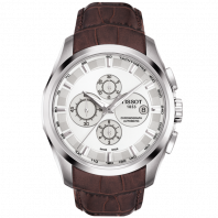 Tissot - Couturier Automatic with brown leather strap and silver dial  T0356271603100