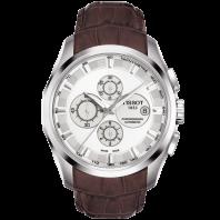 Tissot - Couturier Automatisk med brunt läderarmband och silver urtavla T0356271603100