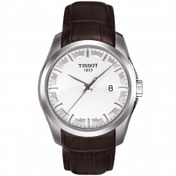 Tissot - Couturier Quartz with Brown leather strap and silver dial T0354101603100