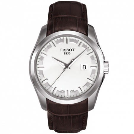 Tissot - Couturier Quartz with Brown leather strap and silver dialT0354101603100