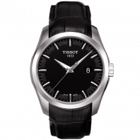 Tissot - Couturier Quartz black dial & leather strap T0354101605100