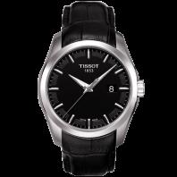 Tissot - Couturier Quartz med svart läderarmband och svart urtavlaT0354101605100