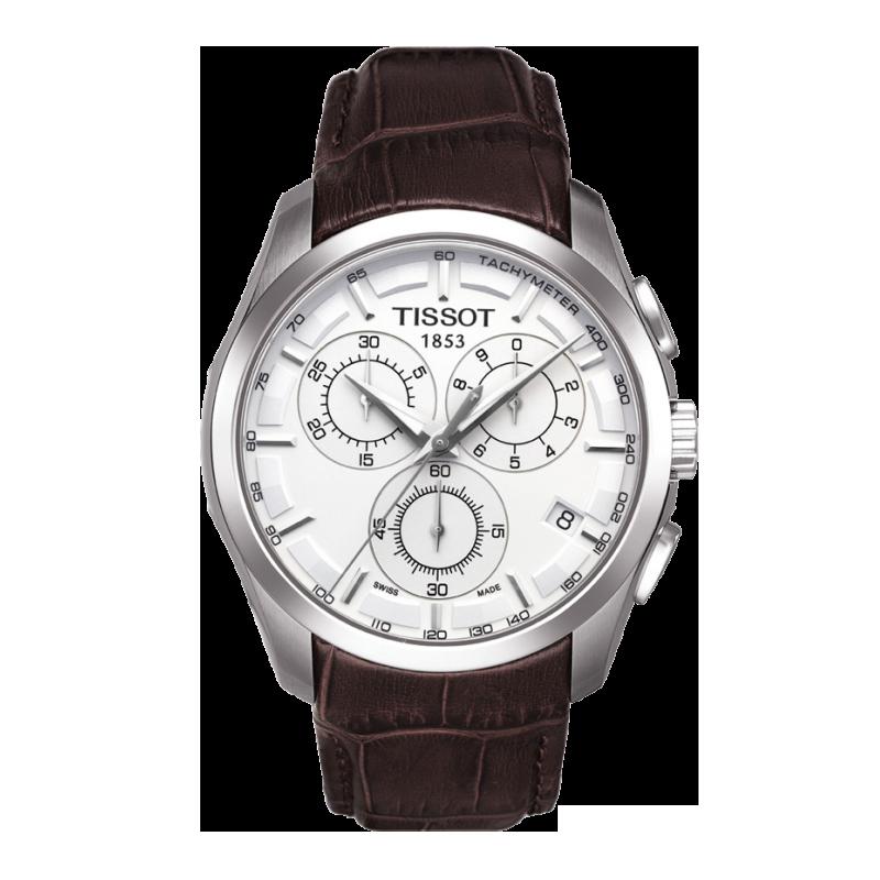 Tissot - Couturier Quartz med brunt läderarmband och silver urtavla T0356171603100