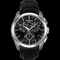 Tissot - Couturier Quartz with black leather strap and black dial T0356171605100