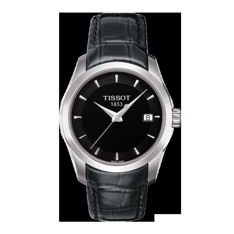 Tissot - Couturier Kvarts svart urtavla och läderbandT0352101605100