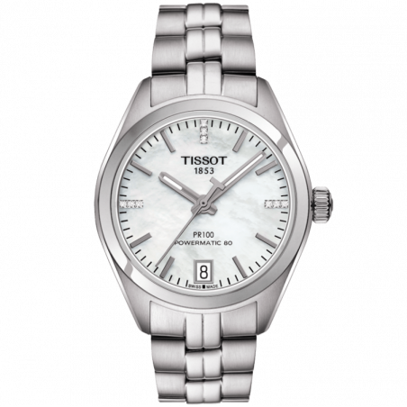 Tissot - PR100 Powermatic 80 mother of Pearl dial and Stainless steelT1012071111600