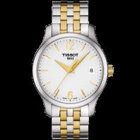 Tissot - Tradition Damklocka Quartz silver urtavla och stållänk med gult guld PVD T0632102203700