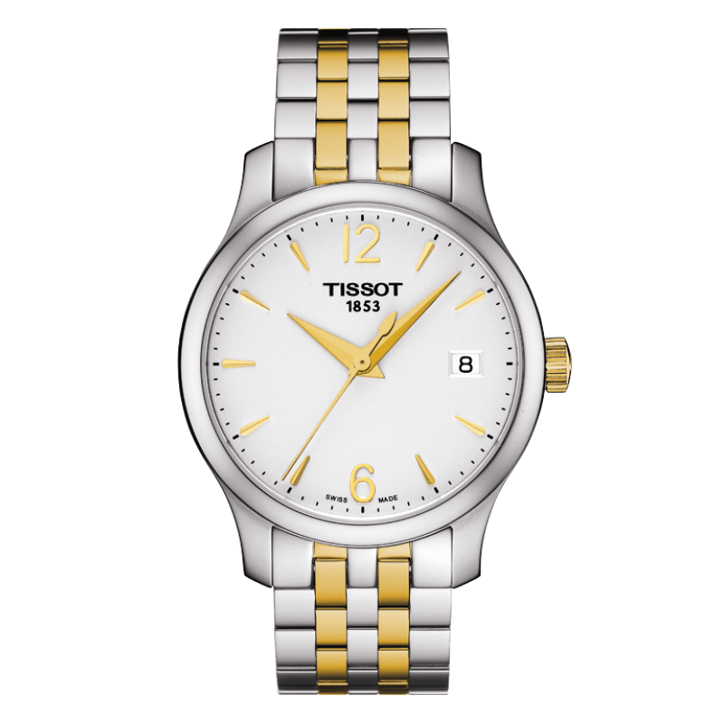 Tissot - Tradition Lady Quartz silver dial and stainless steel bracelet with yellow gold T0632102203700