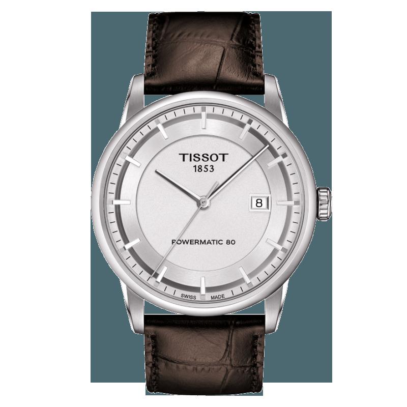 Tissot - Luxury Automatisk Herrklocka silver urtavla och läderbandT0864071603100