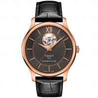 Tissot - TRADITION POWERMATIC 80 OPEN HEART Svart & Rose guld T0639073606800