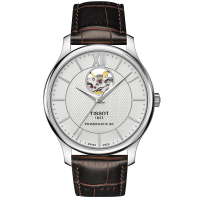 Tissot - TRADITION POWERMATIC 80 OPEN HEART Silver & Läderband T0639071603800