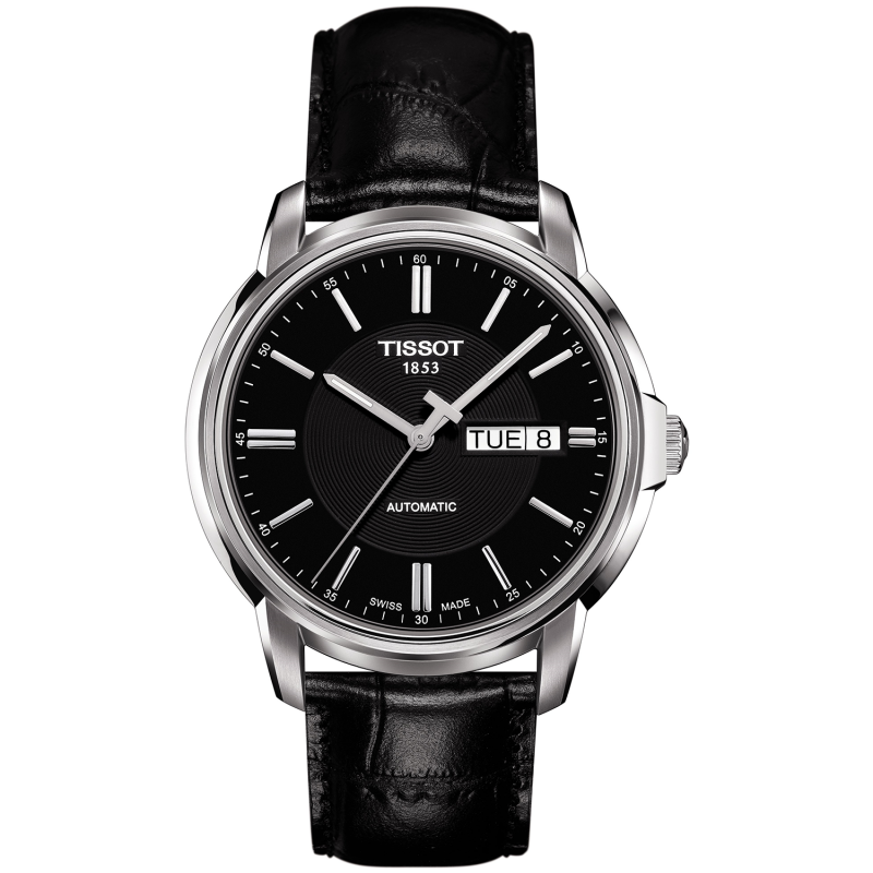 Tissot - AUTOMATICS III Men's watch Black & Leather strap T0654301605100