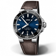 Oris Aquis Date Blue & Leather Strap