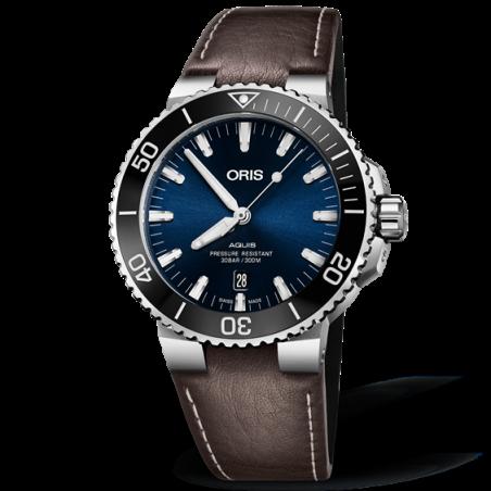 Oris Aquis Date Blue & Leather Strap 733 7730 4135-5 24 10 EB