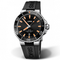Oris Aquis Date Black & Orange Rubber Strap