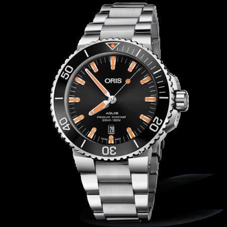 Oris Aquis Date Black & Orange Bracelet 733 7730 4159-07 8 24 05PEB