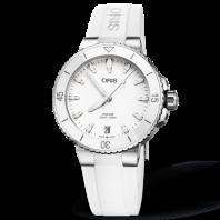 Oris Aquis Date Vit & Gummiband 733 7731 4151-07 4 18 63FC