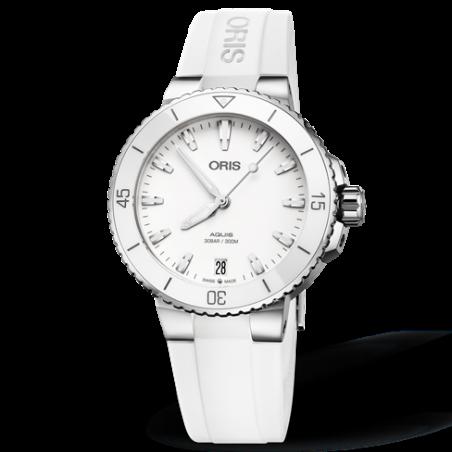 Oris Aquis Date White & rubber strap 733 7731 4151-07 4 18 63FC