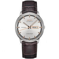 MIDO COMMANDER - AUTOMATIC Silver Steel &  Leather Gent's