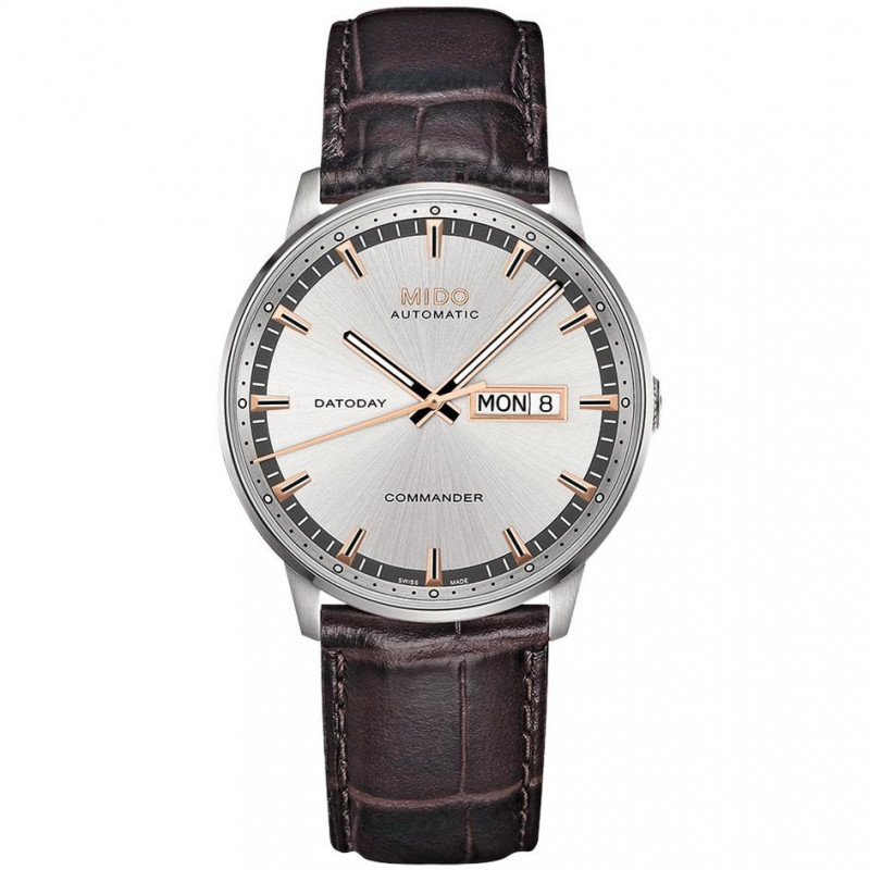 MIDO COMMANDER - AUTOMATIC Leather Bracelet Silver dial M0164301603180