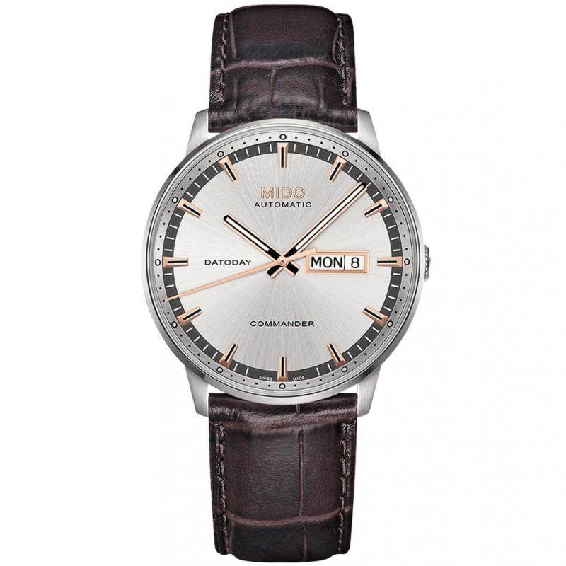 MIDO COMMANDER - AUTOMATIC Leather Bracelet Silver dial M0164301603180