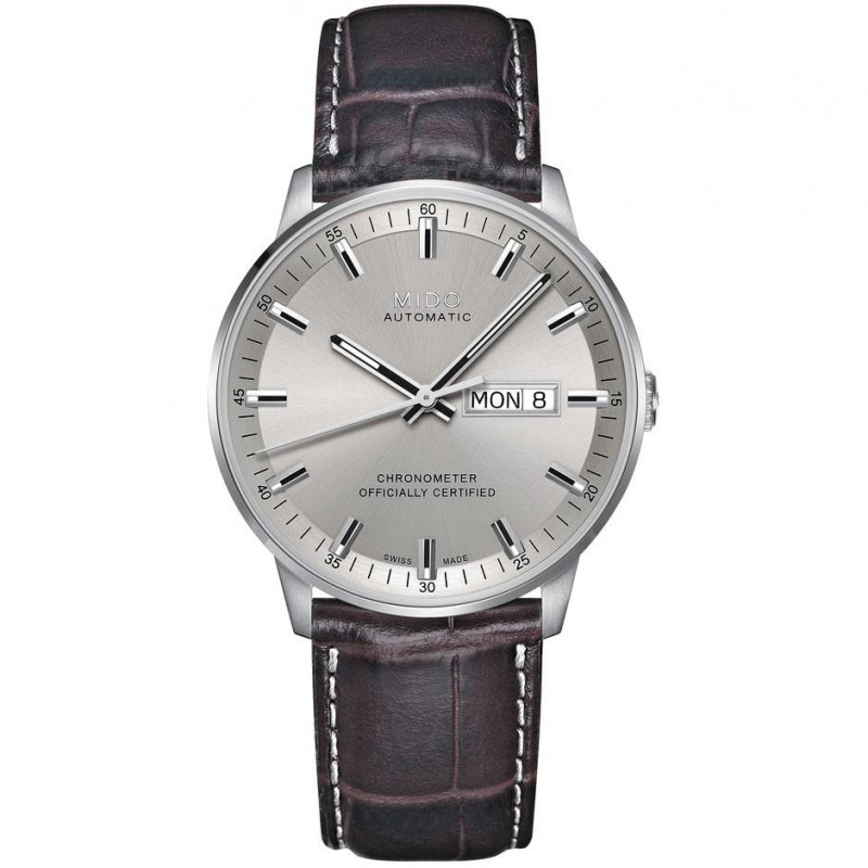 MIDO COMMANDER - AUTOMATIC Chronometer Certified-Leather band silver dial M0214311607100