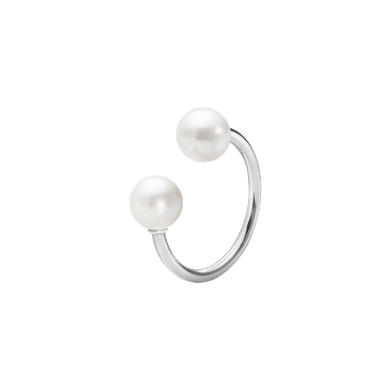 Georg Jensen Moonlight Grape Open Ring Silver White Pearl 10003420