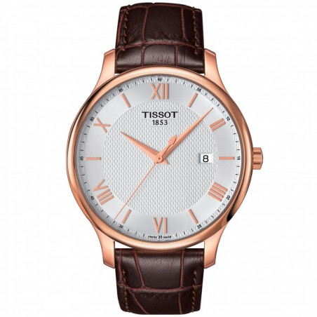 Tissot - Tradition herrklocka silver romerska siffror & rose guld T0636103603800