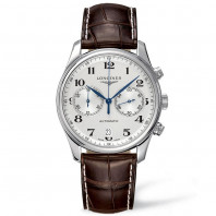 Longines - Master Automatic Chronograph 40 mm silver & leather strap
