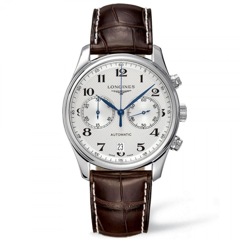 Longines - Master Automatic Chronograph 40 mm silver & leather strap L26294785