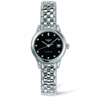Longines Flagship- Black Diamond Steel Lady's Watch