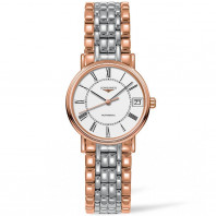 Longines Presence 30mm white & bracelet with rose gold PVD