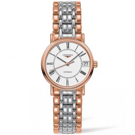 Longines Presence 30mm white & bracelet with rose gold PVD L43221117