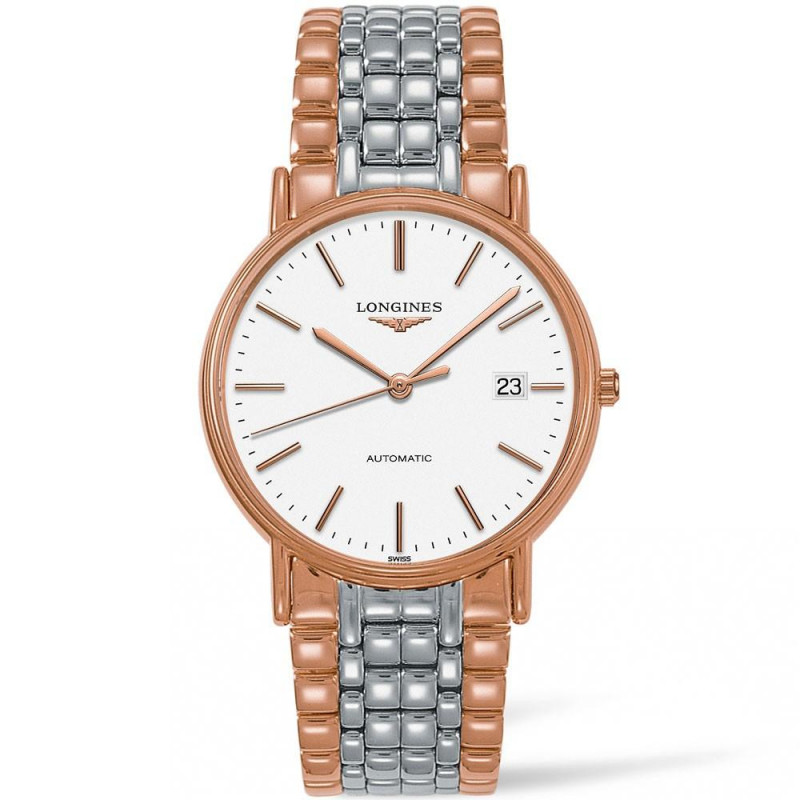 Longines Presence 38.5mm white & bracelet with rose gold PVD L49211127