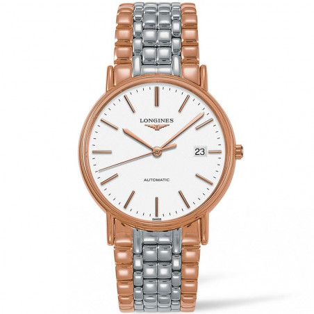 Longines Presence 38.5mm white & bracelet with rose gold PVD L49211127
