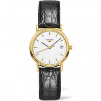 Longines Presence Quartz 30mm White Gold PVD Leatherstrap