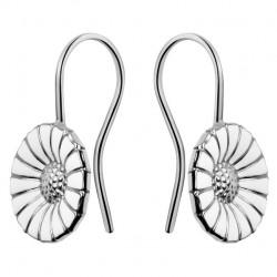 Georg Jensen Daisy earrings - Rhodinated Sterling silver with enamel