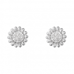 Georg Jensen SUNFLOWER earrings - Sterling silver with brilliant cut diamonds