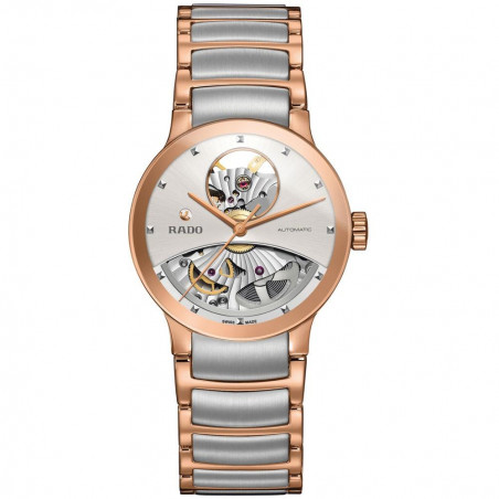 Rado Centrix women's watch open heart dial steel & rose gold R30248012